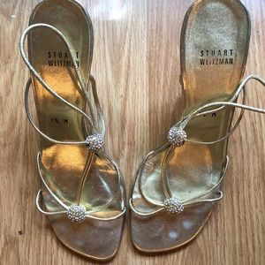 Metallic Gold Stuart Weitzman evening sandals